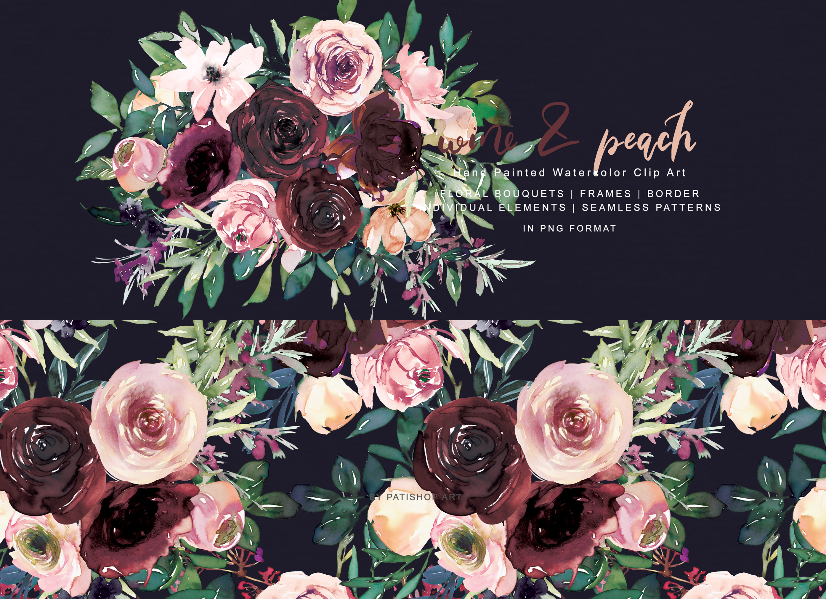 Wine and Peach Floral Bouquet Clipart example image 5