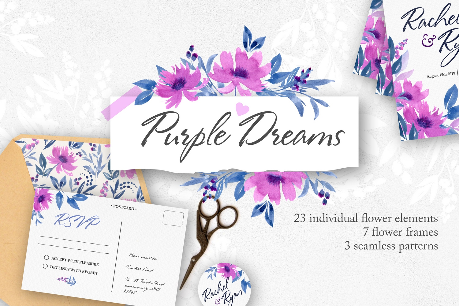Purple Dreams - Flower Graphic Set example image 1