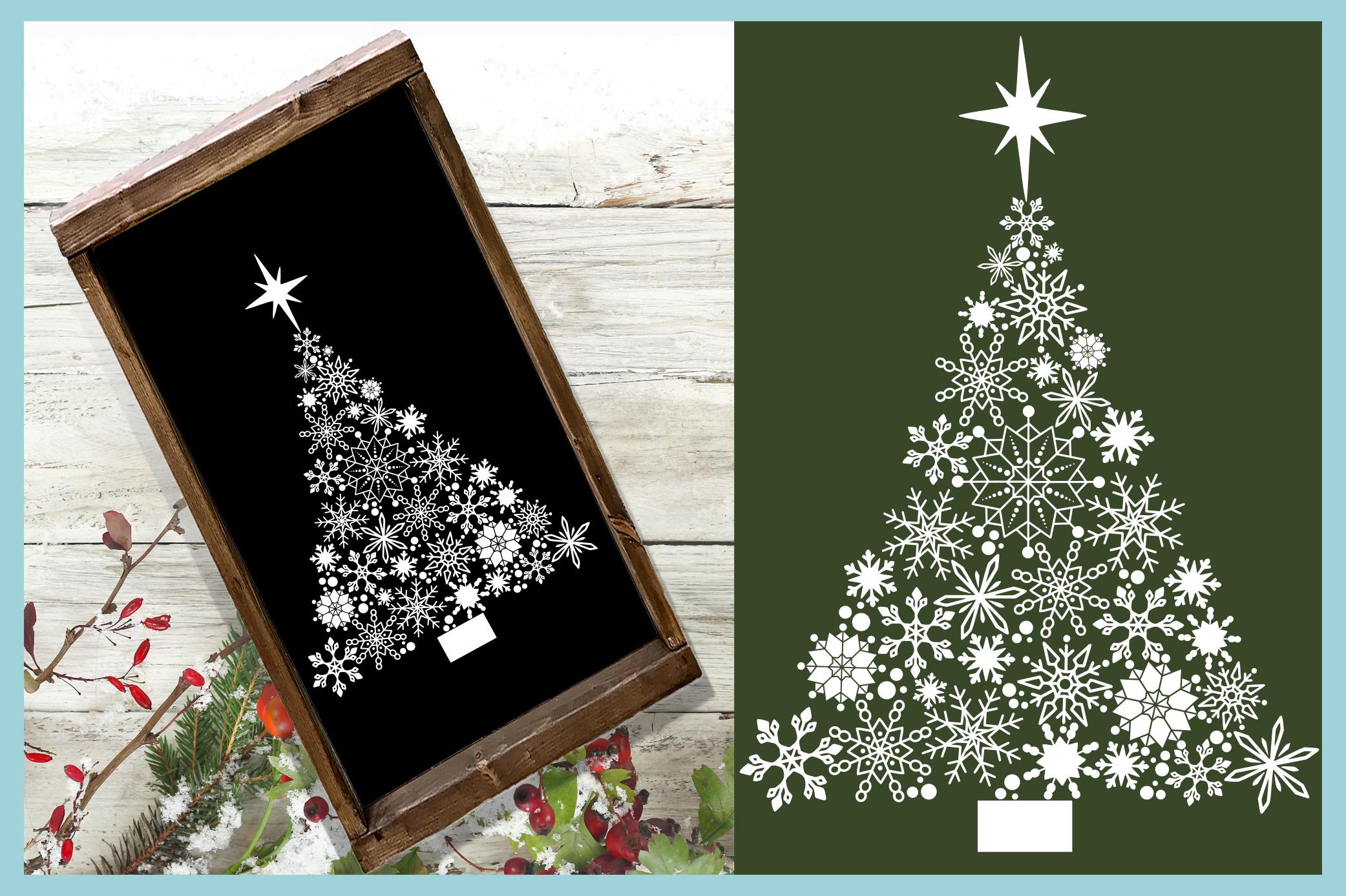 Snowflake Christmas Tree with Star SVG example image 2