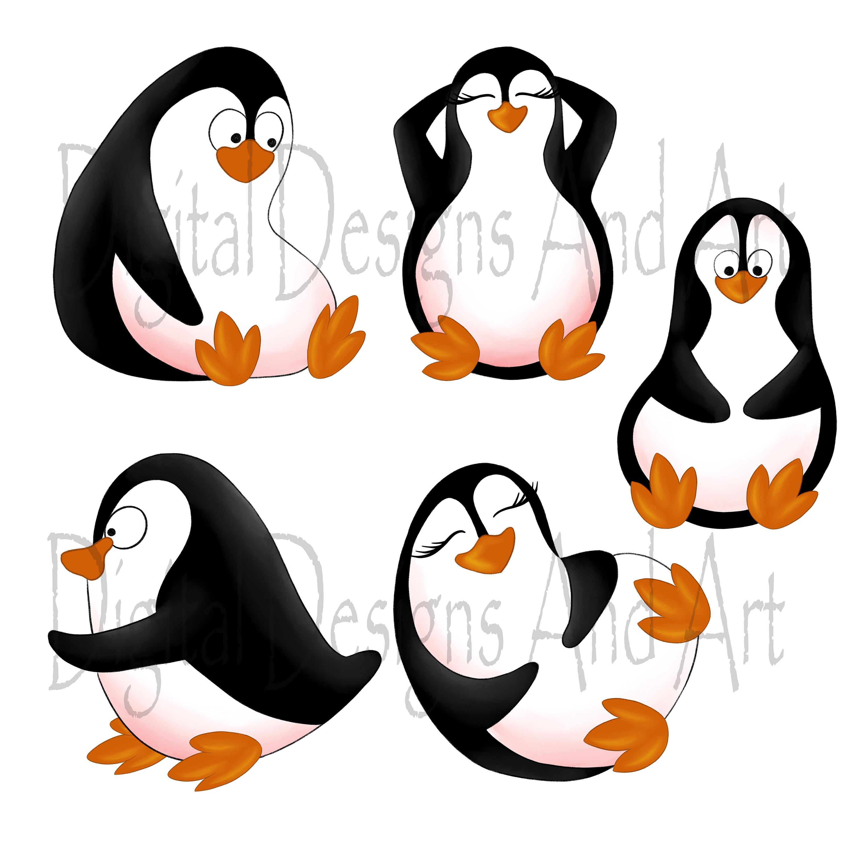 Beach penguins clipart