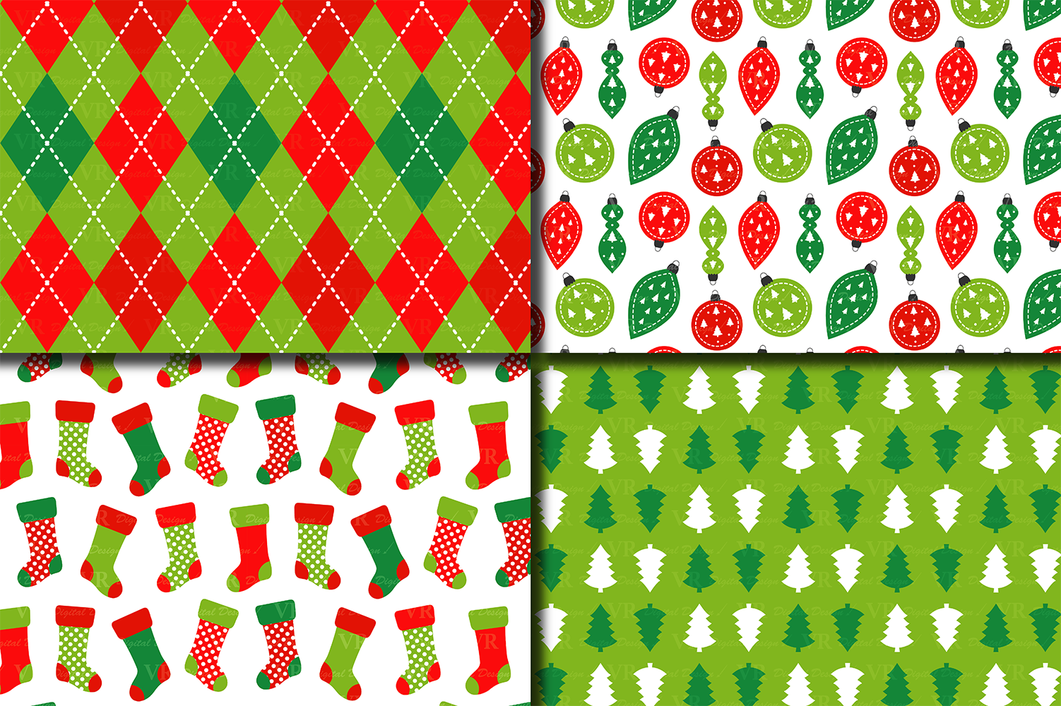Red and Green Christmas Digital Paper Set example image 3