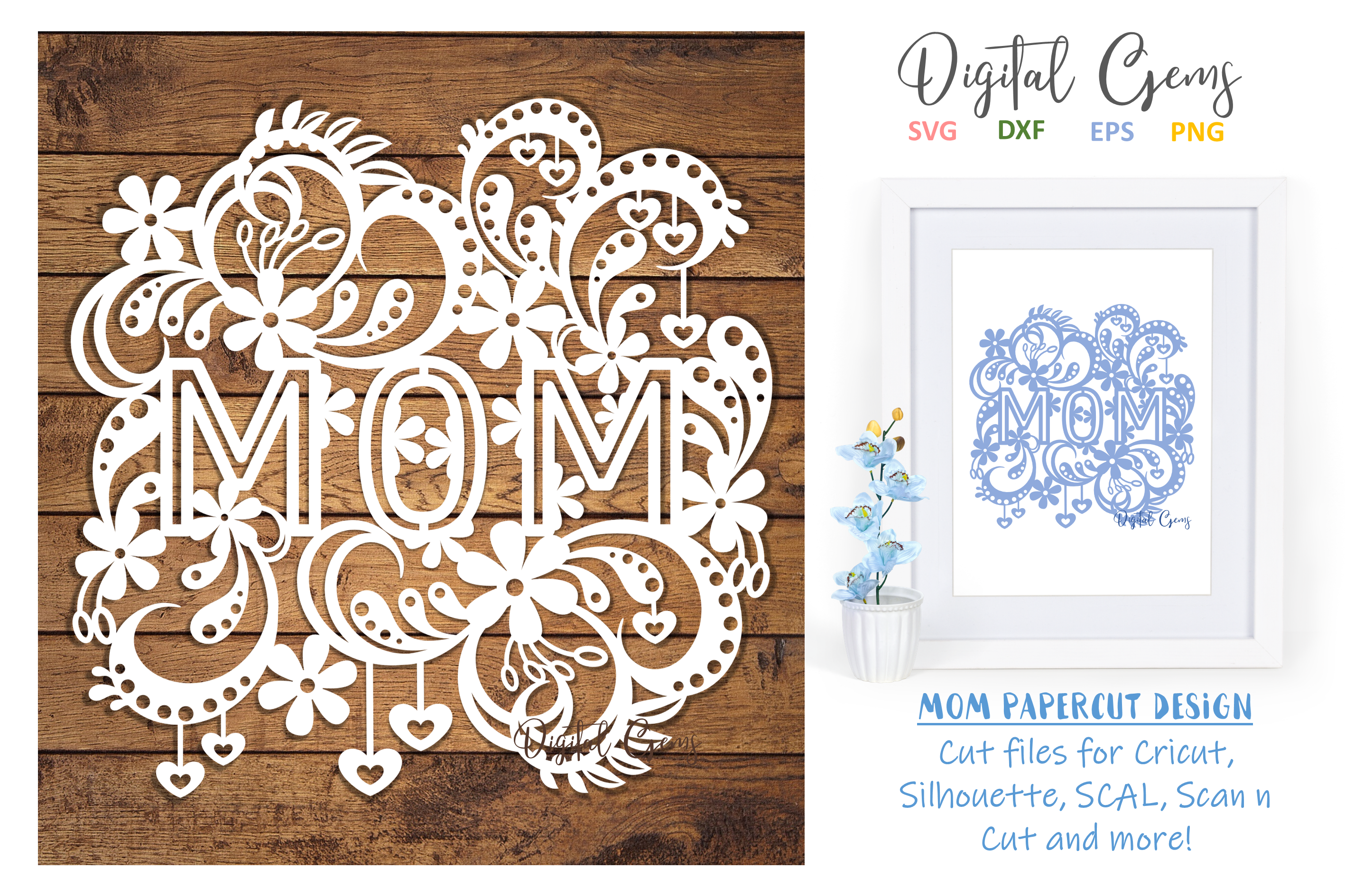 Mom paper cut design SVG / DXF / EPS files example image 1