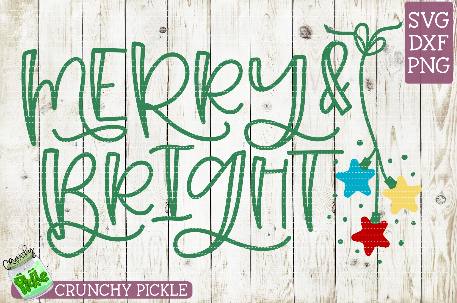 Merry & Bright Christmas SVG example image 2