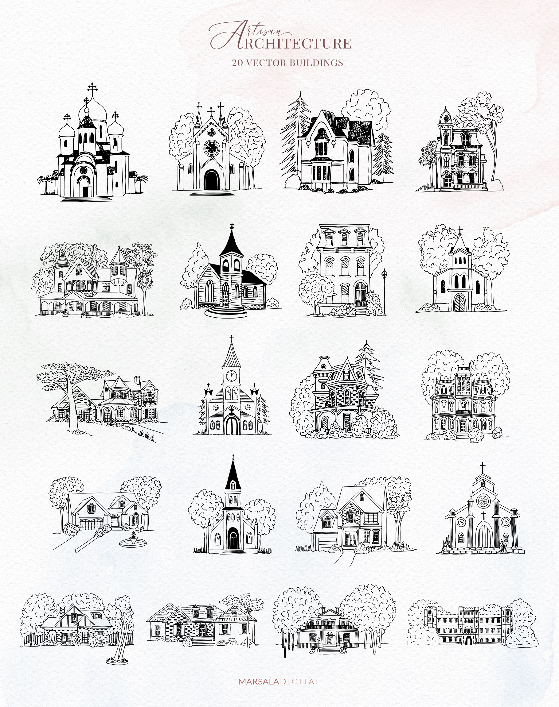 Venues Houses Watercolor , Sketch , Vector Graphics example image 9
