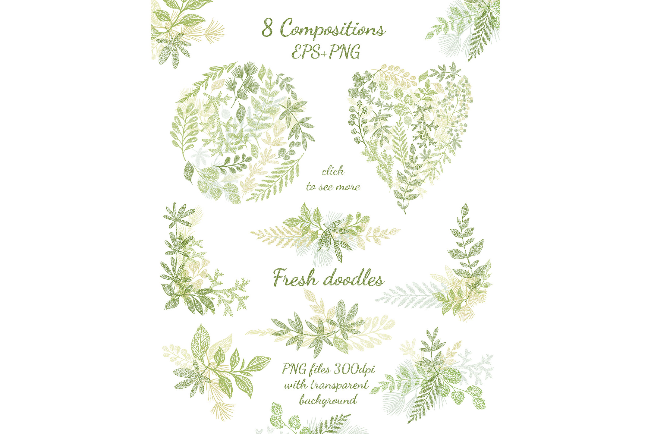 Hand drawn Leaves Branches & Herbs Fresh Doodle collection example image 2