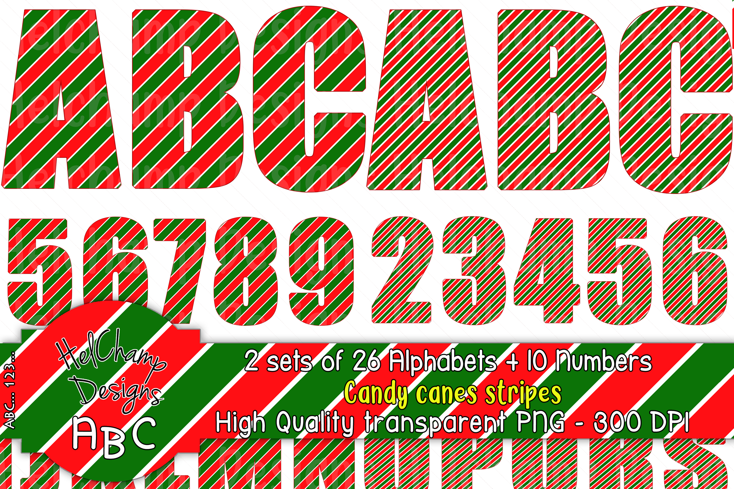 2 sets of 26 letters and10 numbers Candy Canes Stripes-AL002 example image 1