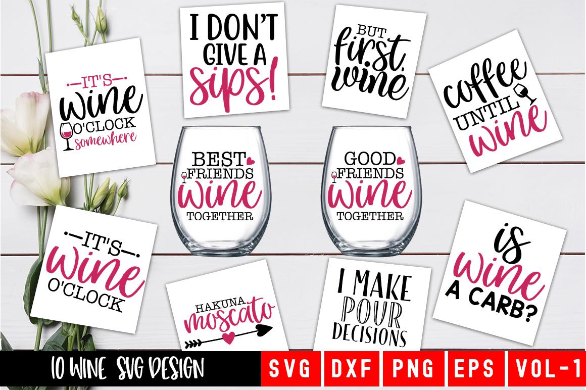 Wine SVG Bundle  10 Designs Wine SVG example image 1