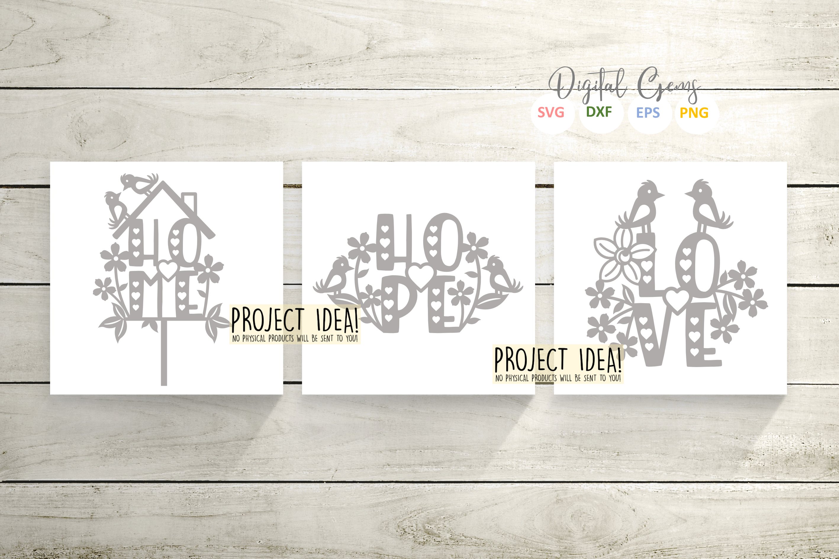 Love, Home, and Hope paper cut designs SVG / DXF / EPS / PNG example image 2
