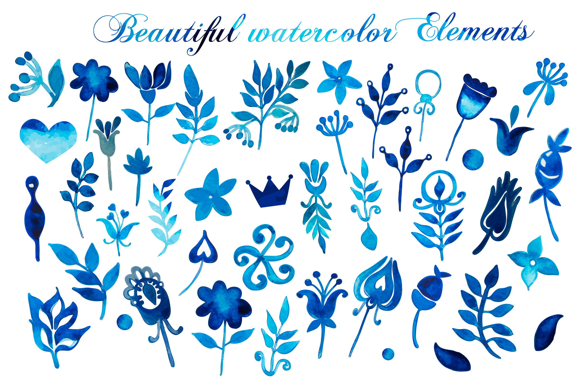 Hand Drawn watercolor elements example image 2