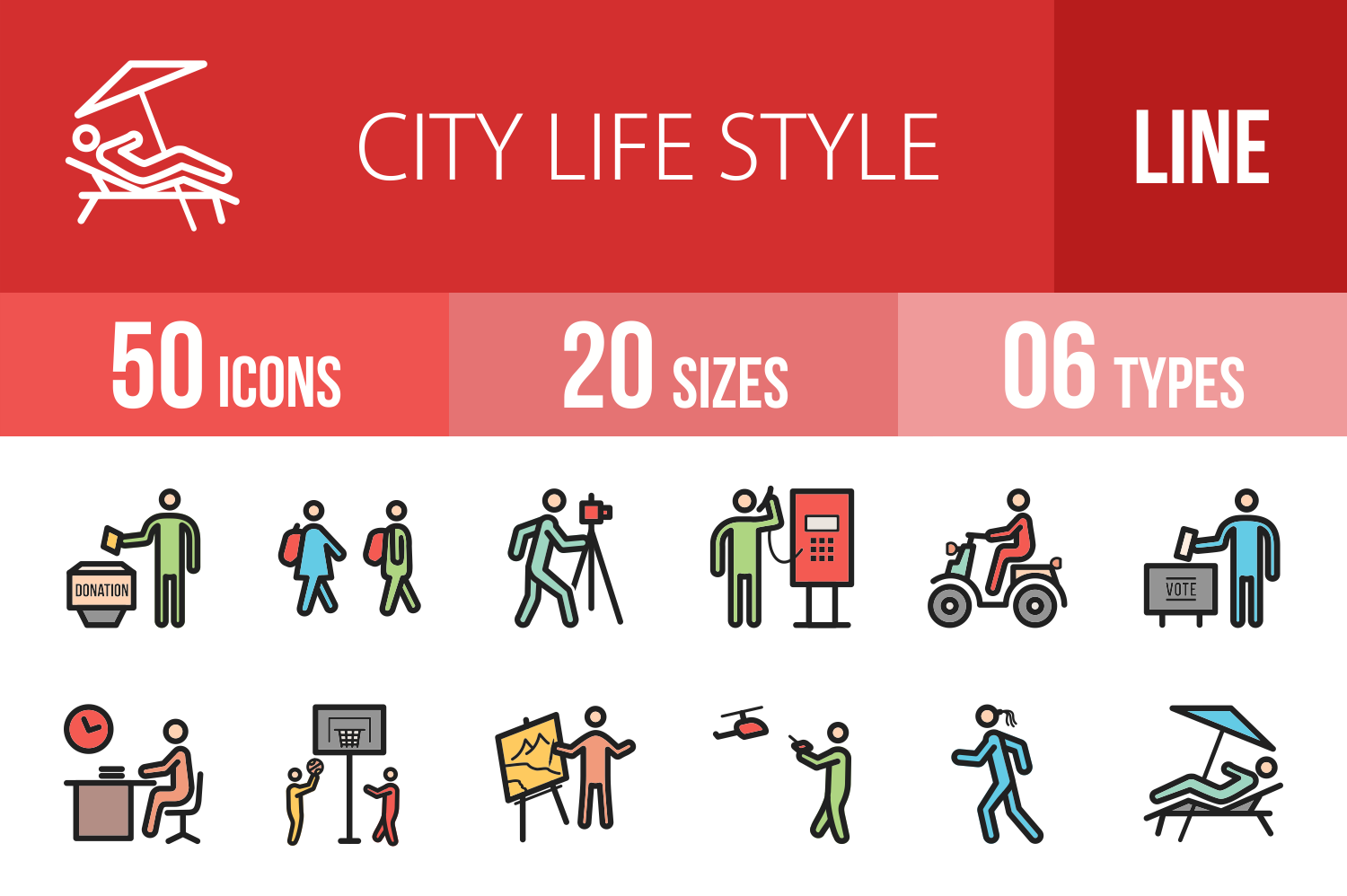 50 City Lifestyle Linear Multicolor Icons example image 1