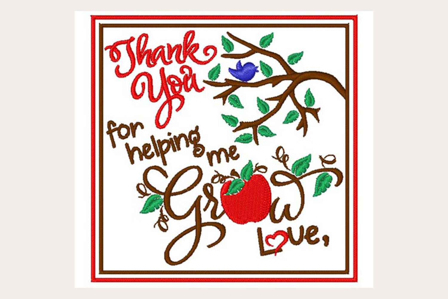 Thank You Teachers - Machine Embroidery Design example image 1