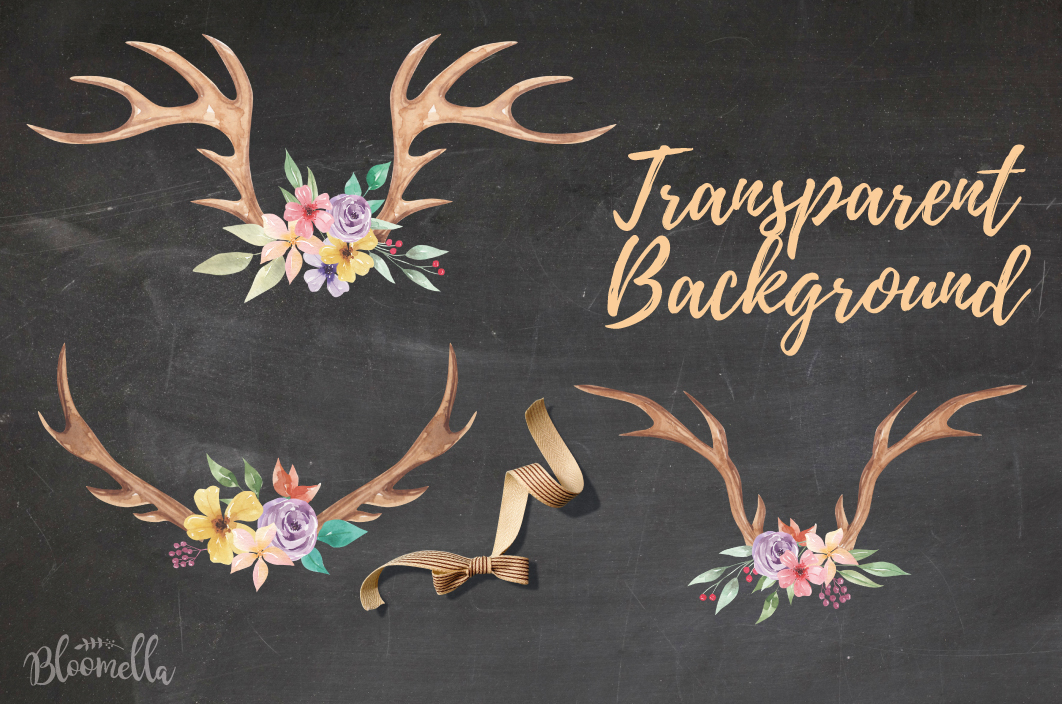 Antlers Floral 7 Bouquets Watercolor Elegant Stag Flowers example image 4