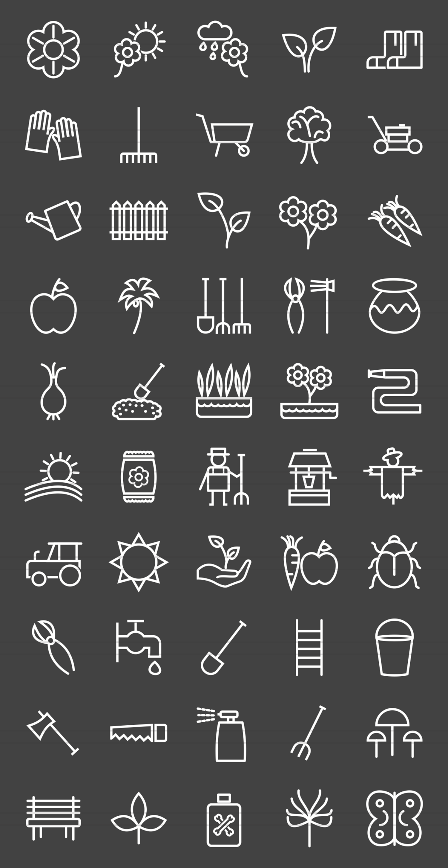 50 Gardening Line Inverted Icons example image 2
