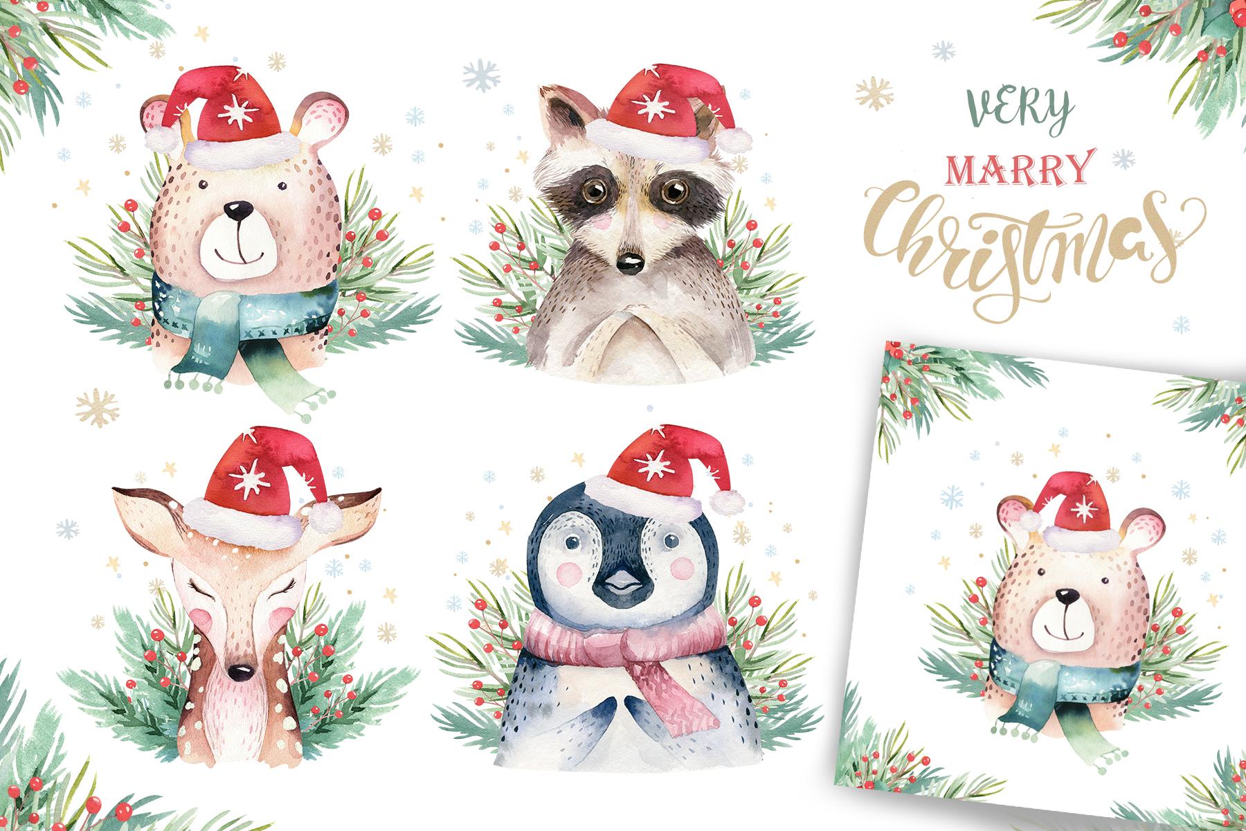 Watercolor Christmas animals raccoon, bear, deer and penguin example image 2