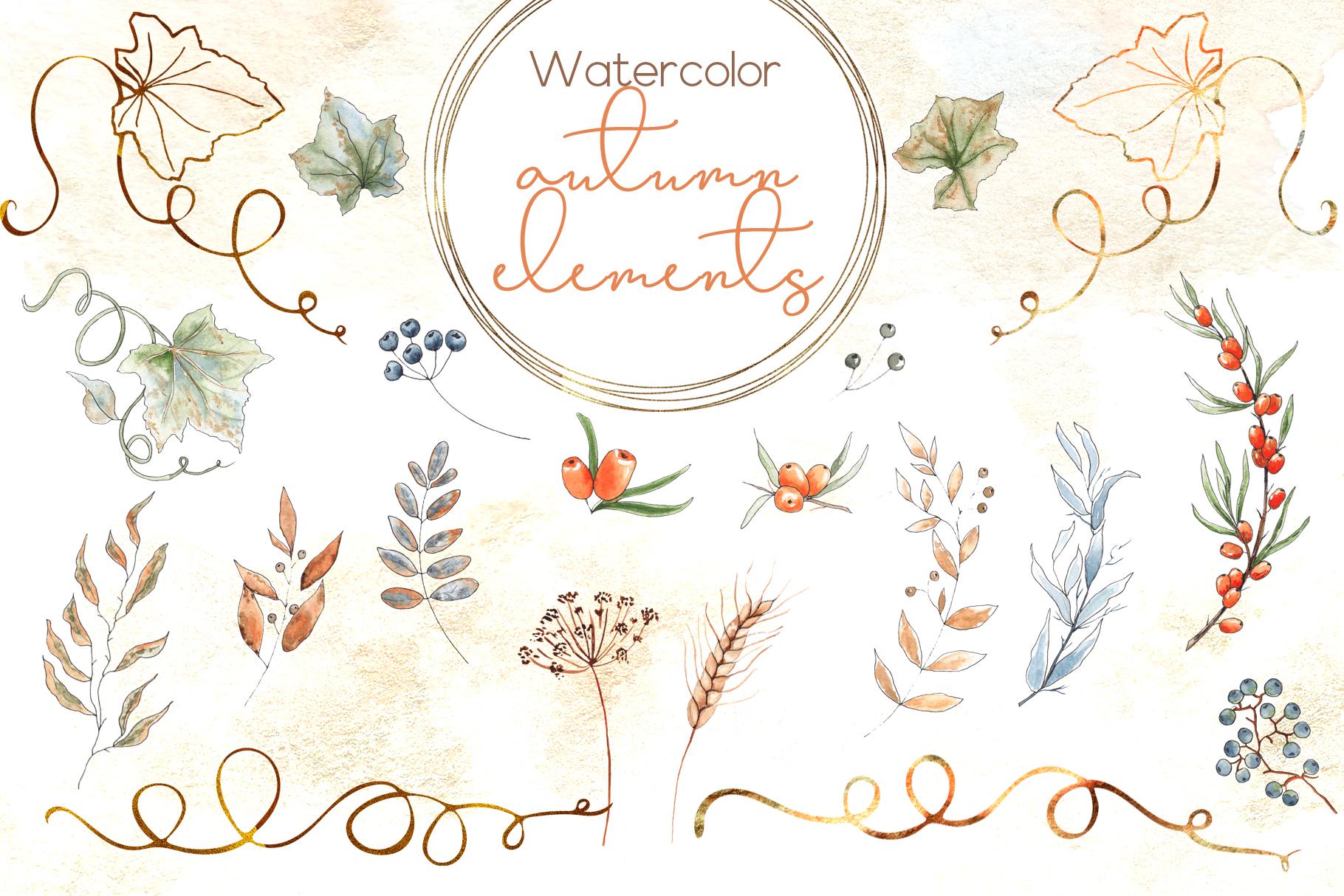 Watercolor autumn BUNDLE example image 20