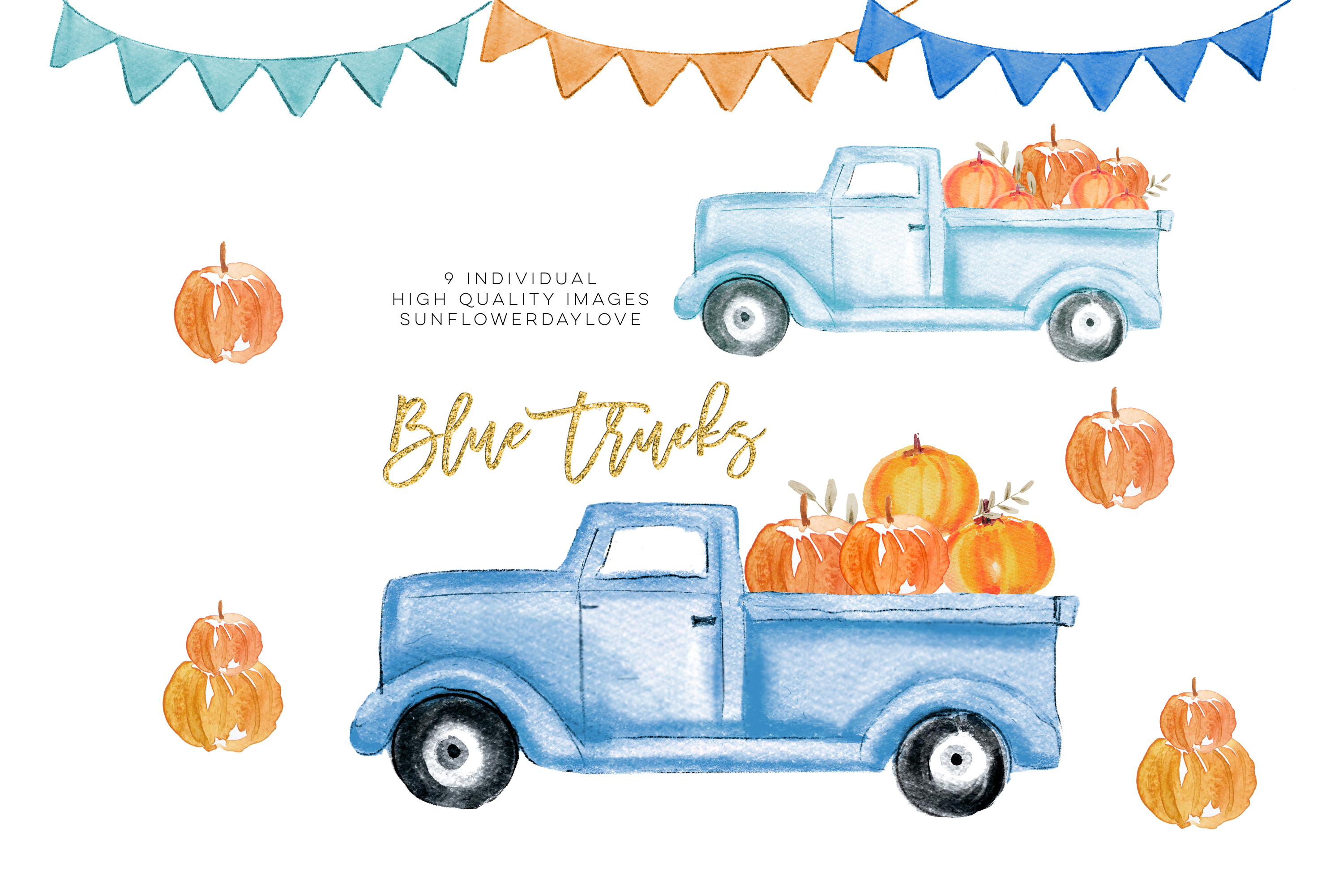 Fall Pumpkin Truck Clipart, Thanksgiving clipart example image 1