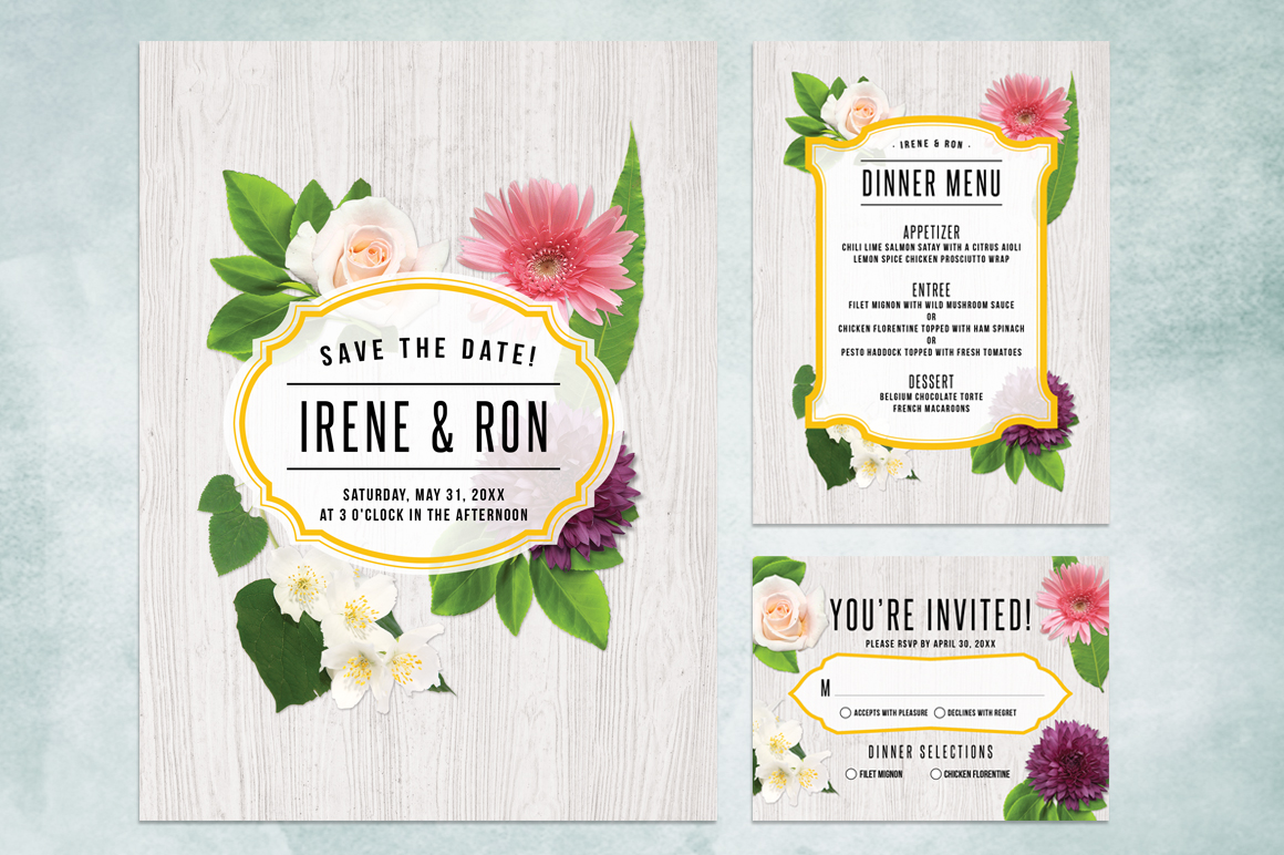 Spring Floral Wedding Invite Bundle example image 2