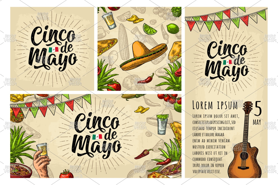 Cinco de Mayo lettering and mexican food. Vector engraving example image 4