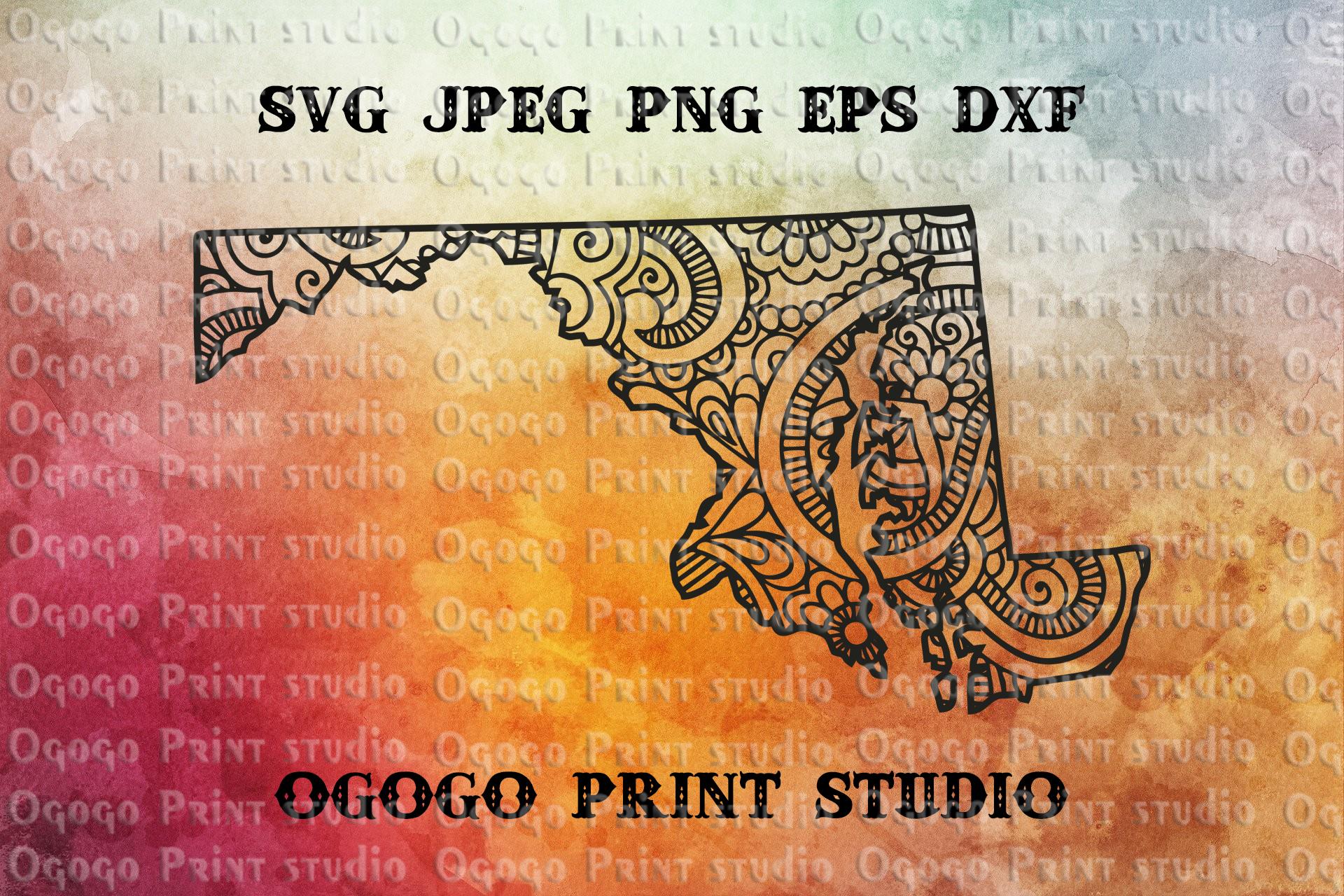 Maryland SVG, Map Zentangle SVG, Mandala svg, Travel svg example image 1