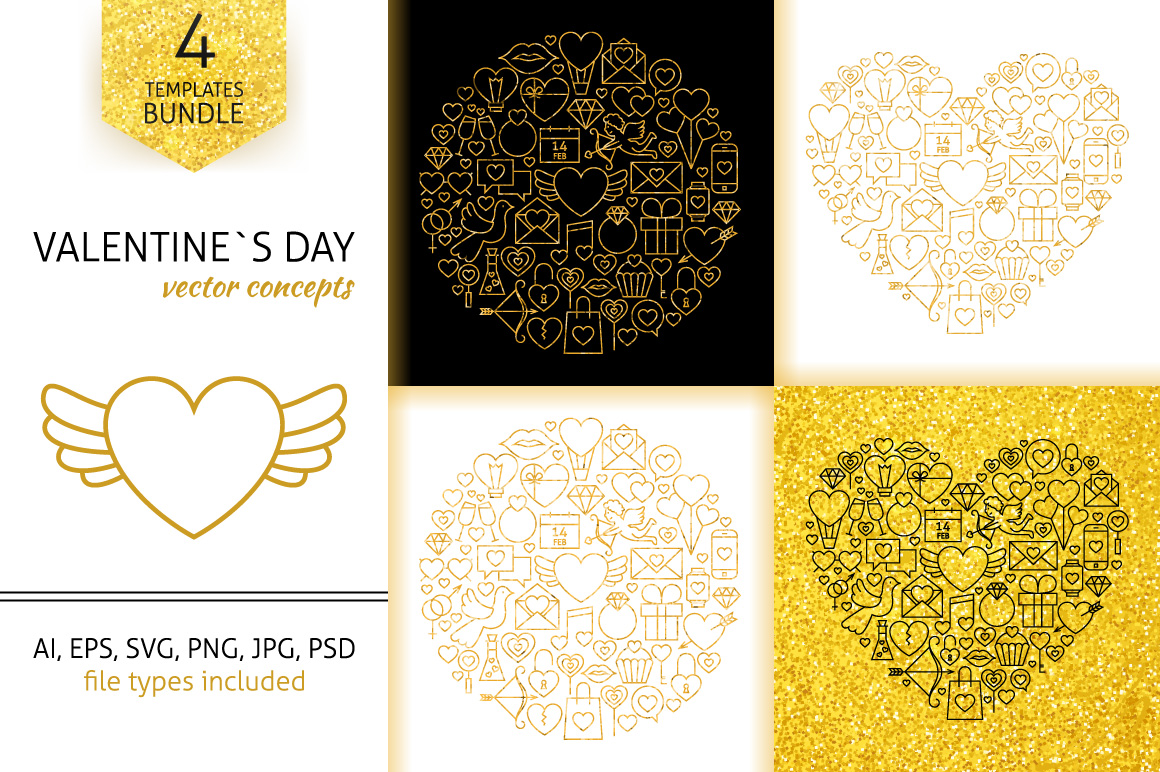 Valentine Day Gold Line Concepts example image 1