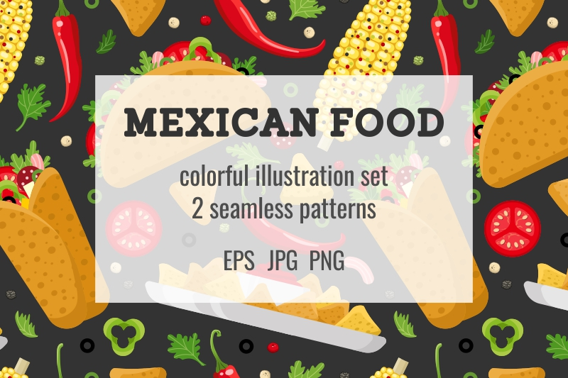 Mexican food set and patterns example image 1