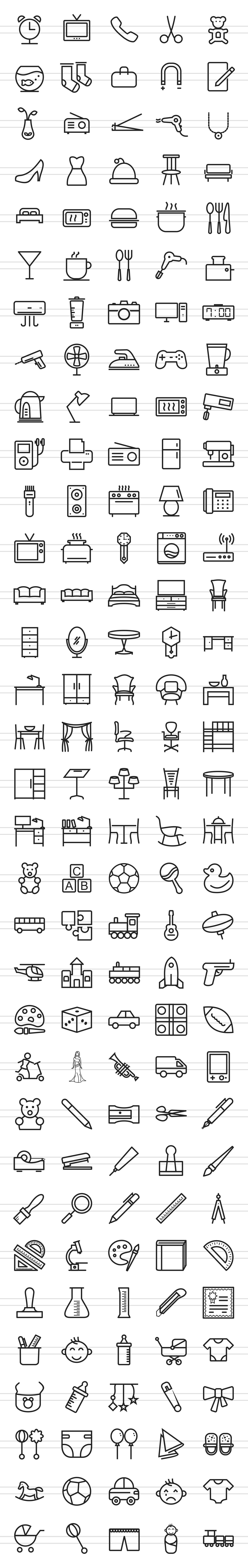 166 Objects Line Icons example image 2