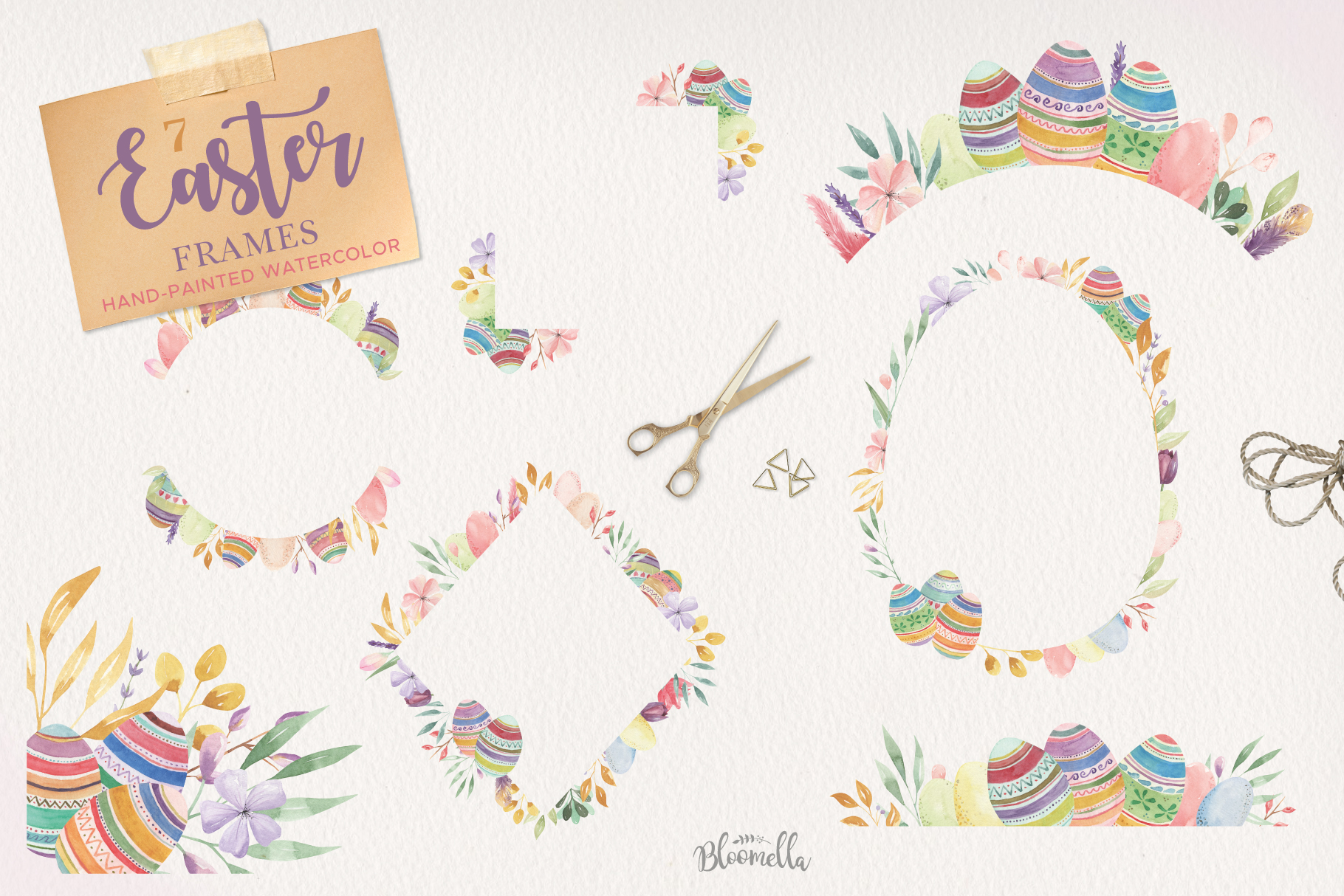 Easter Egg HUGE Bunny Watercolor Floral Spring Clipart Kit example image 4