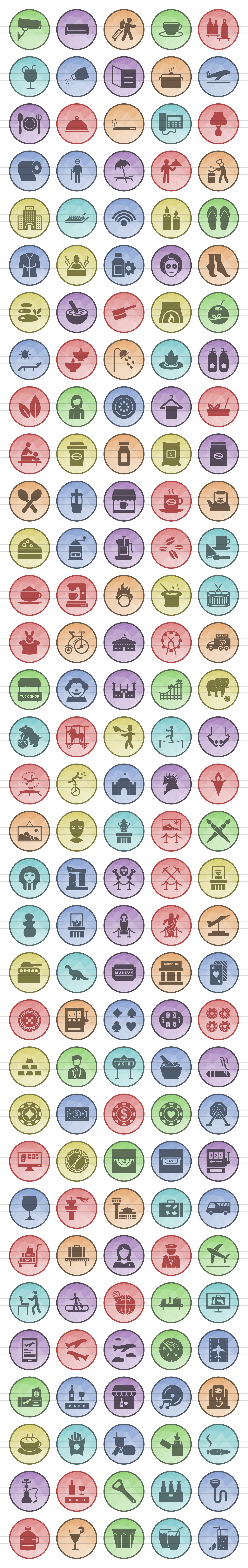 166 Places Filled Low Poly Icons example image 2