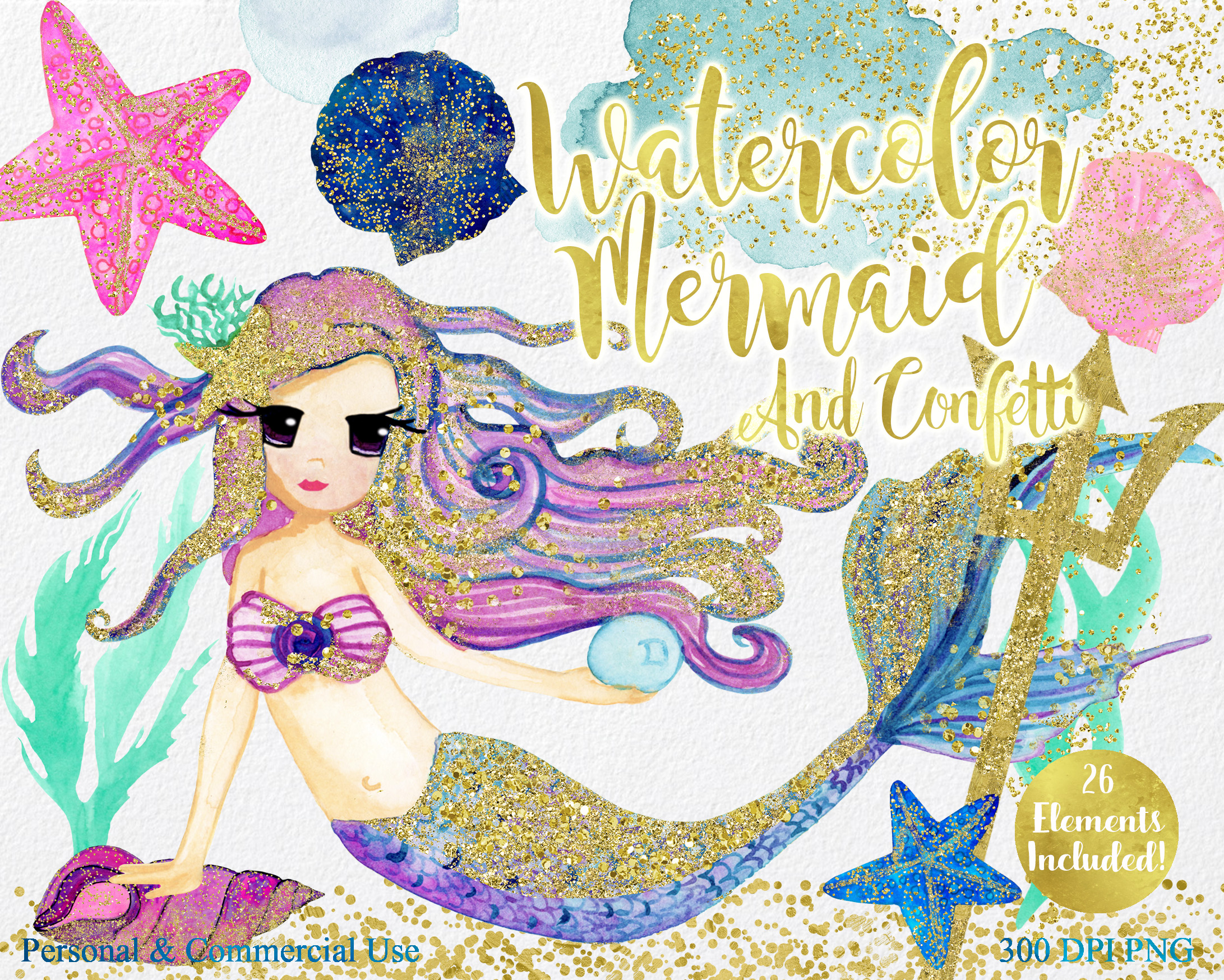 WATERCOLOR MERMAID Clipart  with Metallic Gold Confetti Mermaids Shells Starfish Ocean Watercolour Splash Graphics example image 6