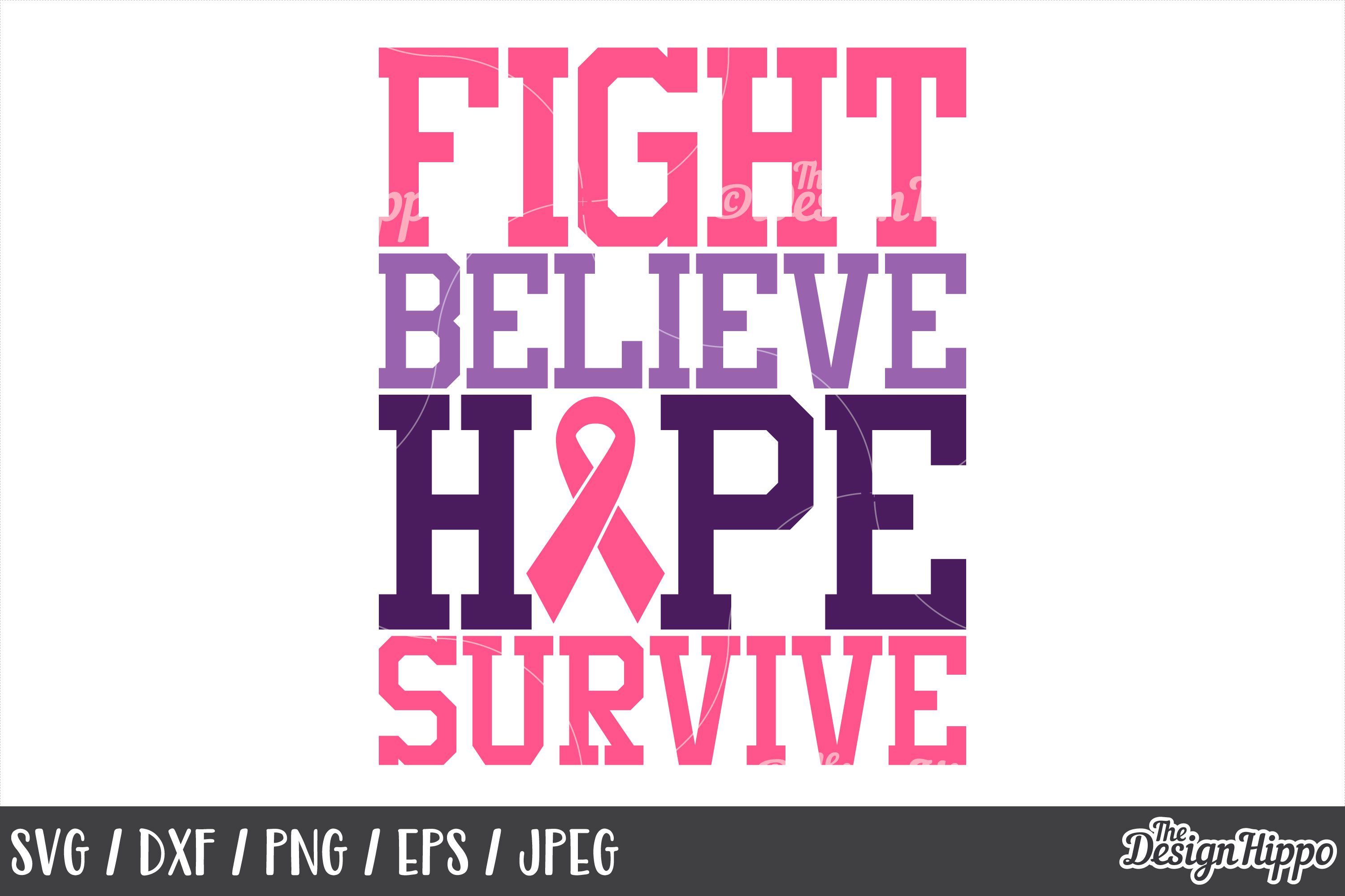 Breast Cancer Svg Fight Believe Hope Survive Ribbon Png