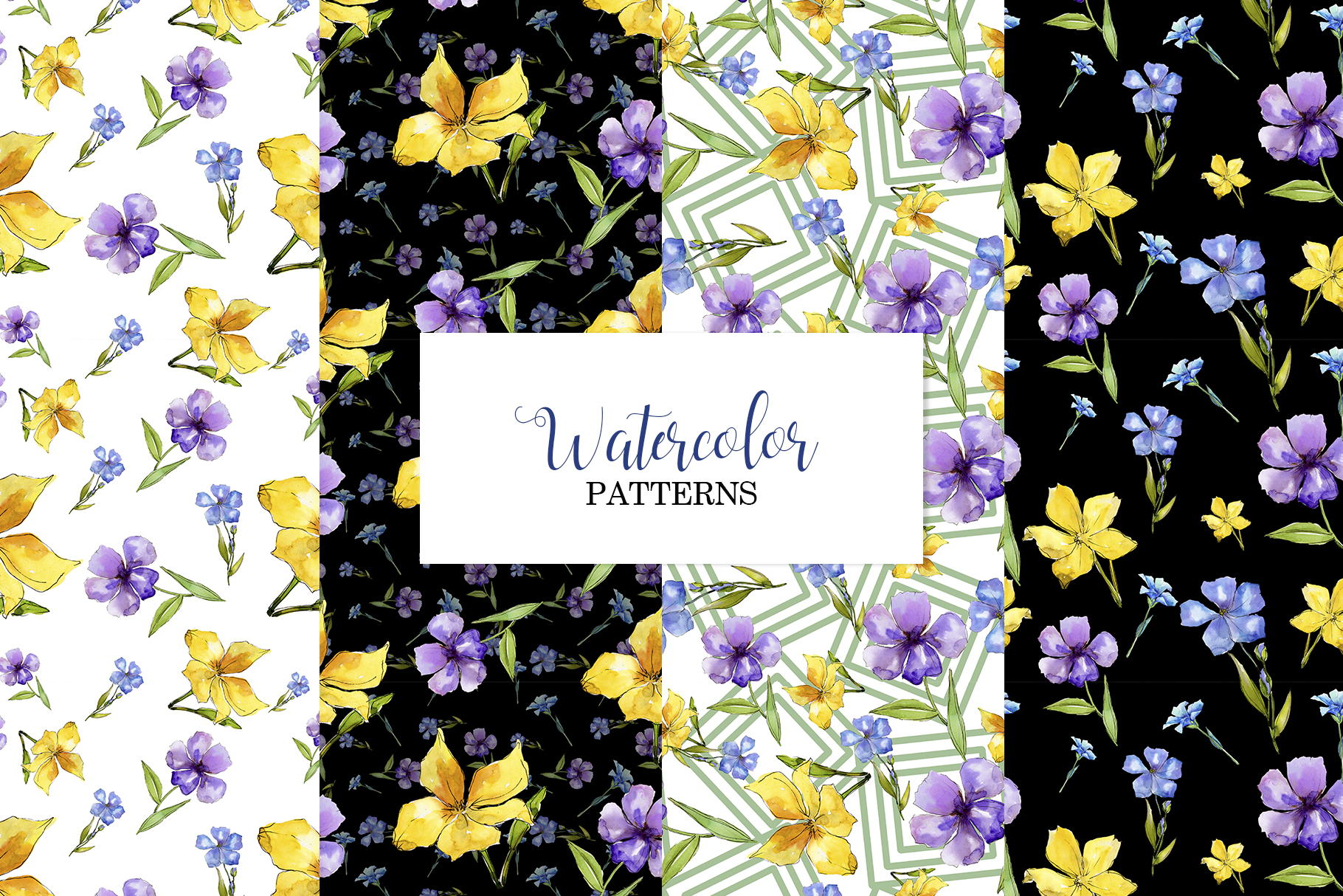 Flax Blue and yellow fowers Watercolor png example image 5