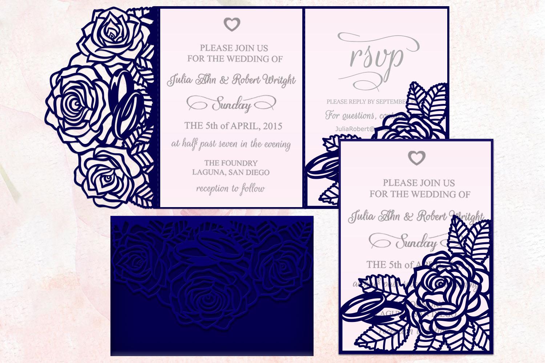 Roses wedding invitation Tri Fold Pocket Envelope set svg example image 1