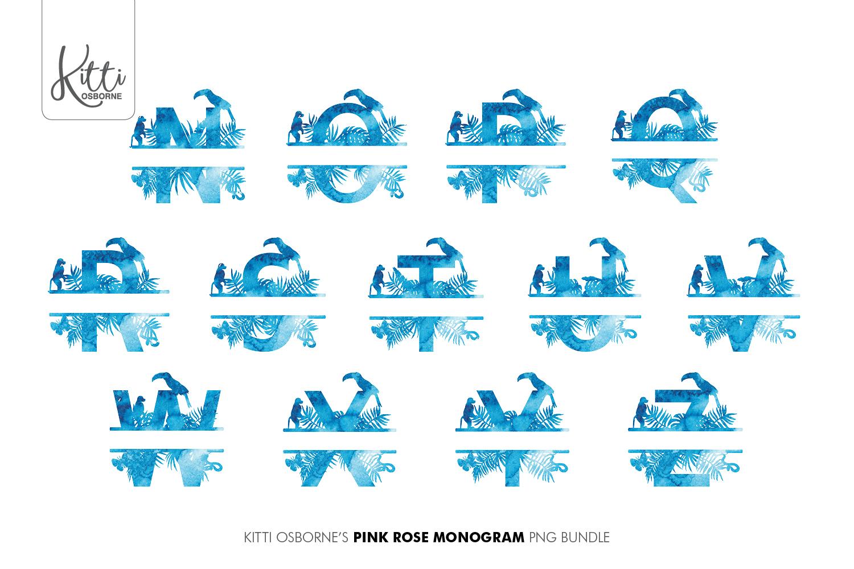 Blue Watercolour Jungle Alphabet Bundle example image 3