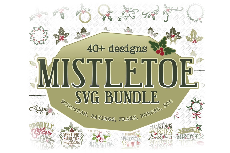 Mistletoe SVG Monogram Christmas in SVG, DXF, PNG, EPS, JPEG example image 1