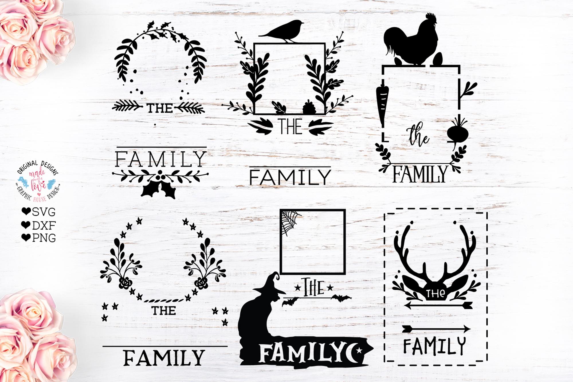 Family Name Monogram Frames Bundle SVG, DXF, EPS example image 2