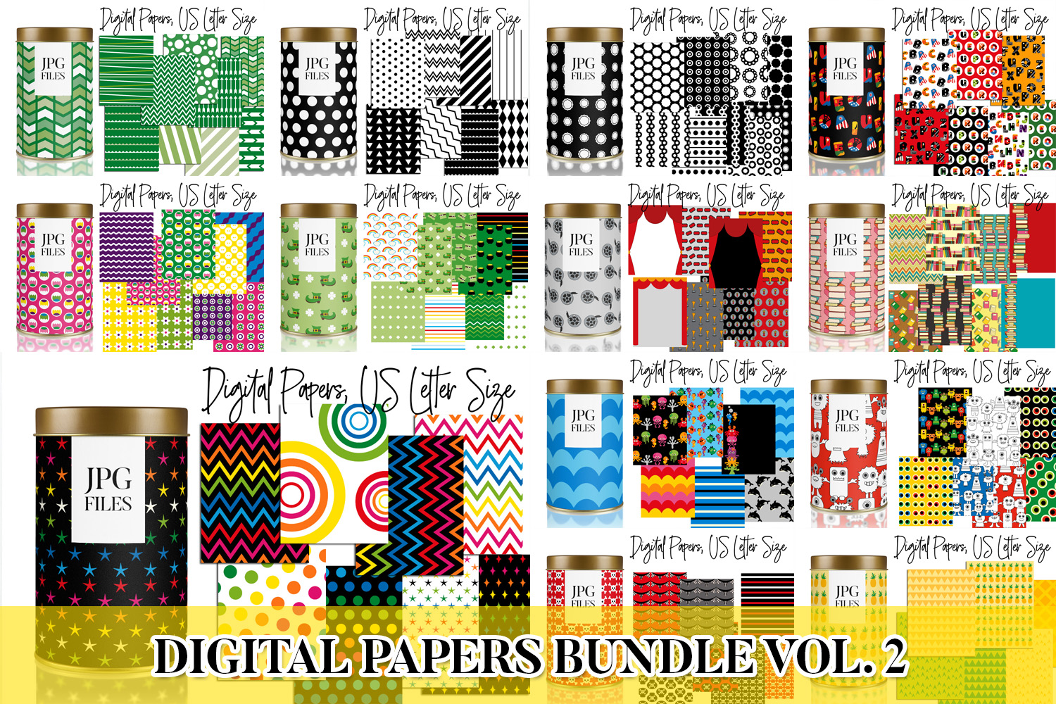 Digital Papers Bundle Vol. 2 - Background Patterns example image 1