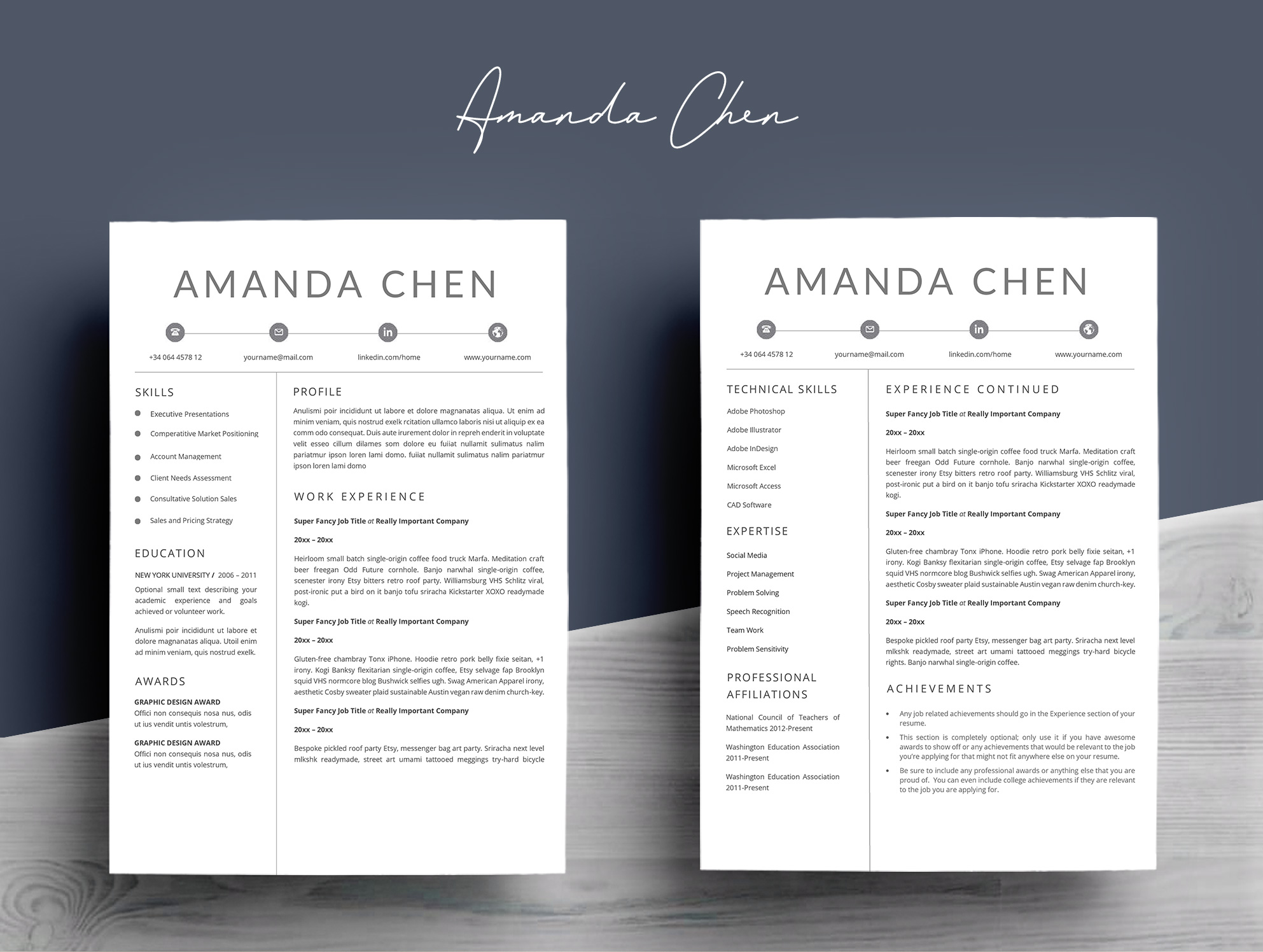 Clean Professional Resume Template Word example image 4