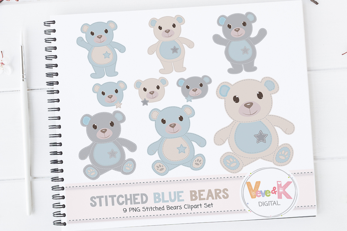Teddy Bear Clip Art, Stitched Bear Clipart, Digital Clip Art, Blue Teddy Bears, Baby Boy DIY Shower, Baby Pink and Beige example image 2