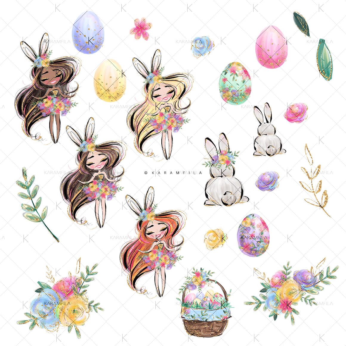 Easter Eggs Bunny Fairy Clipart example image 2