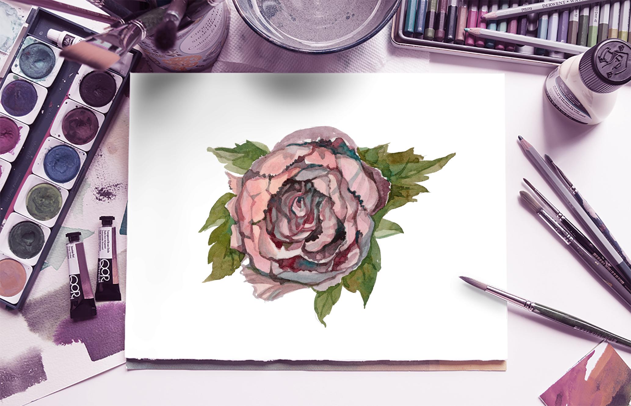 Watercolor flowers. Set of vintage flowers, painting. example image 4