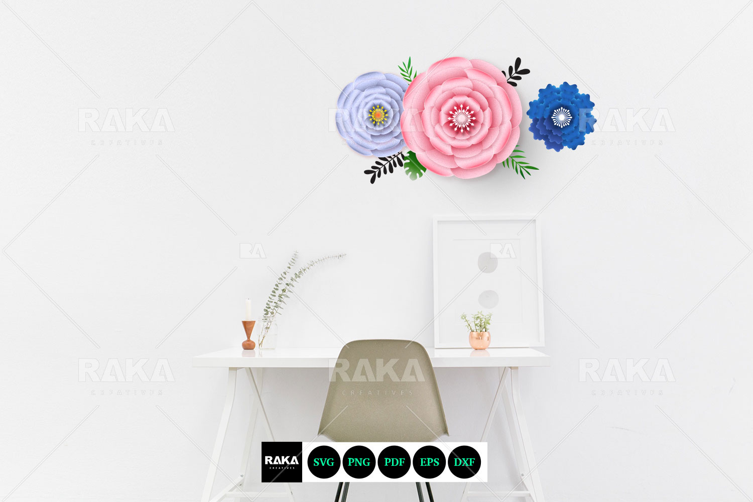 20 Paper Flower SVG | Paper Flower Template | Large Paper example image 3