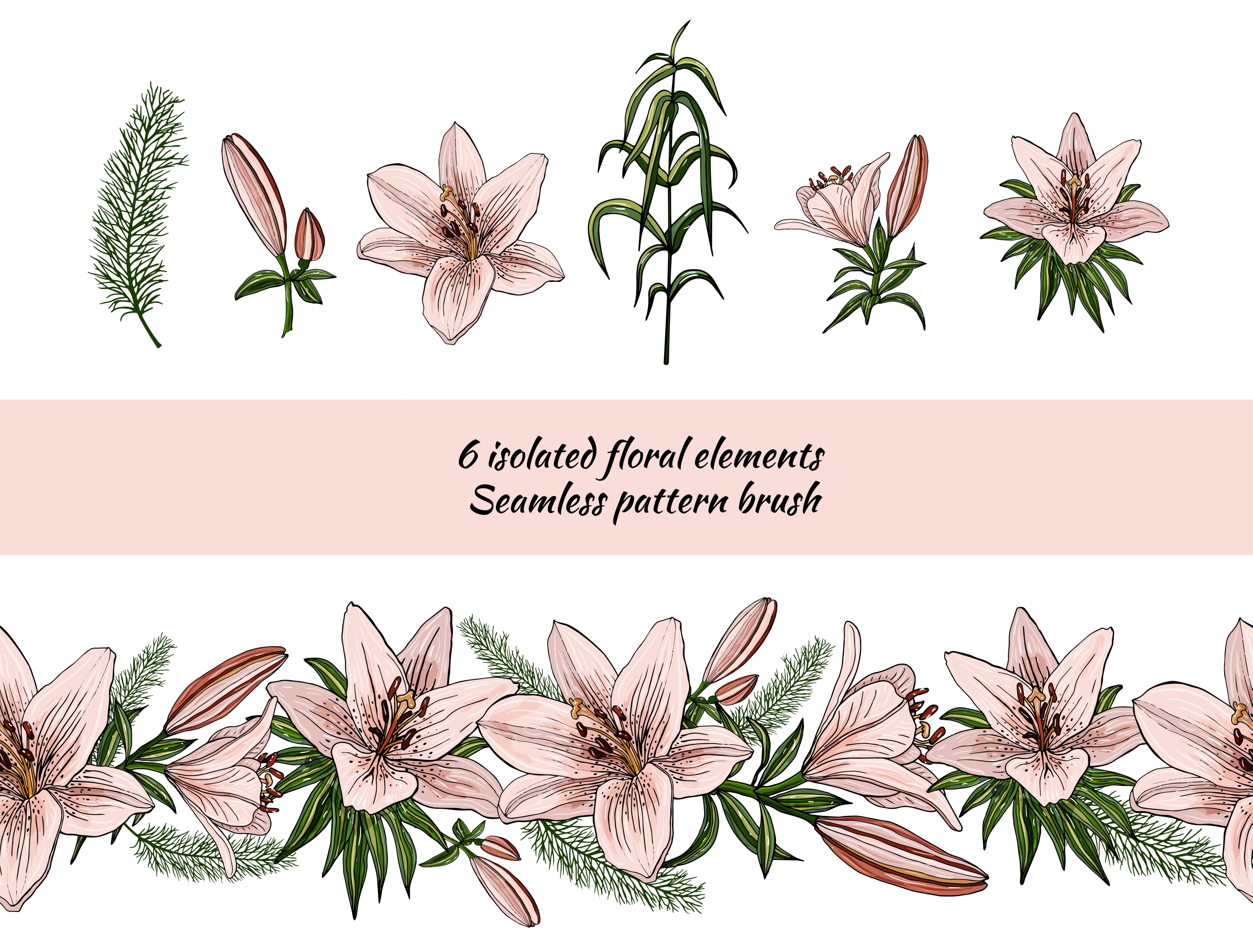 Design with lily flowers. Seamless patterns and postcards. example image 4