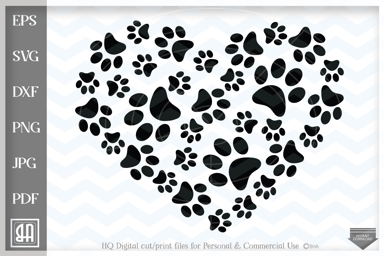 Download Paws Print Heart SVG, Paw Prints SVG, Paw Print , Paw SVG ...