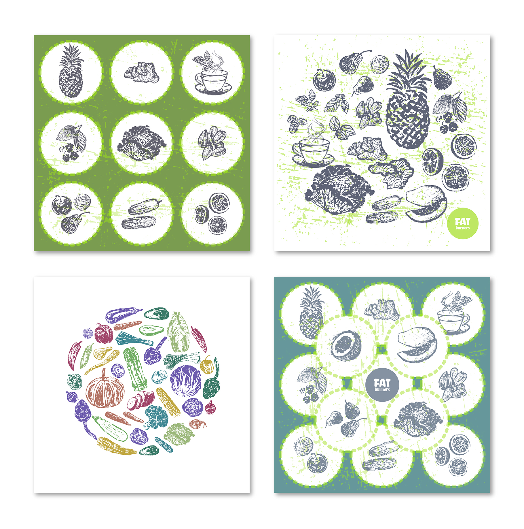 Fruits and Veggies Ink Drawings example image 9