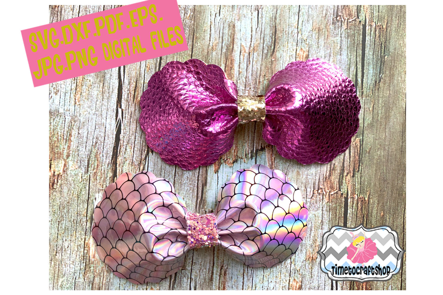 Pinch Center Scalloped Hair Bow Template Felt Hair Bow example image 1