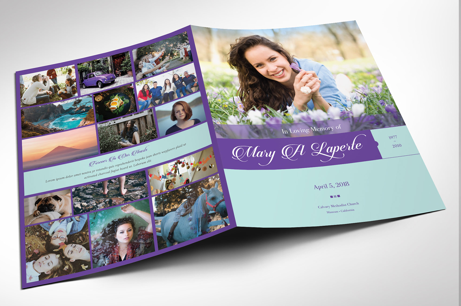 Remember Purple Teal Funeral Program Word Publisher Large example image 2