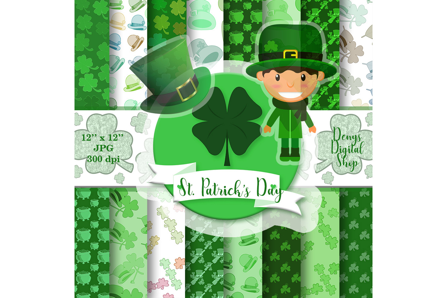 St. Patrick's Day digital paper, St. Patrick's Day, sale,off example image 1