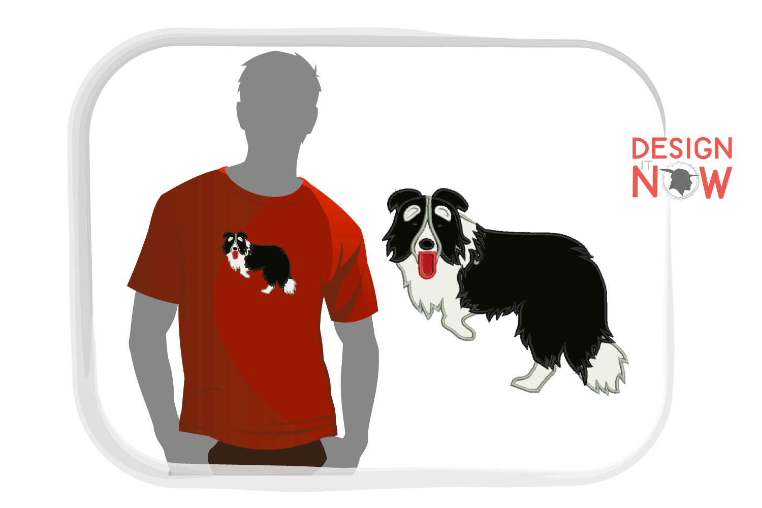 Dog Applique Embroidery Design, Border Collie Embroidery example image 1