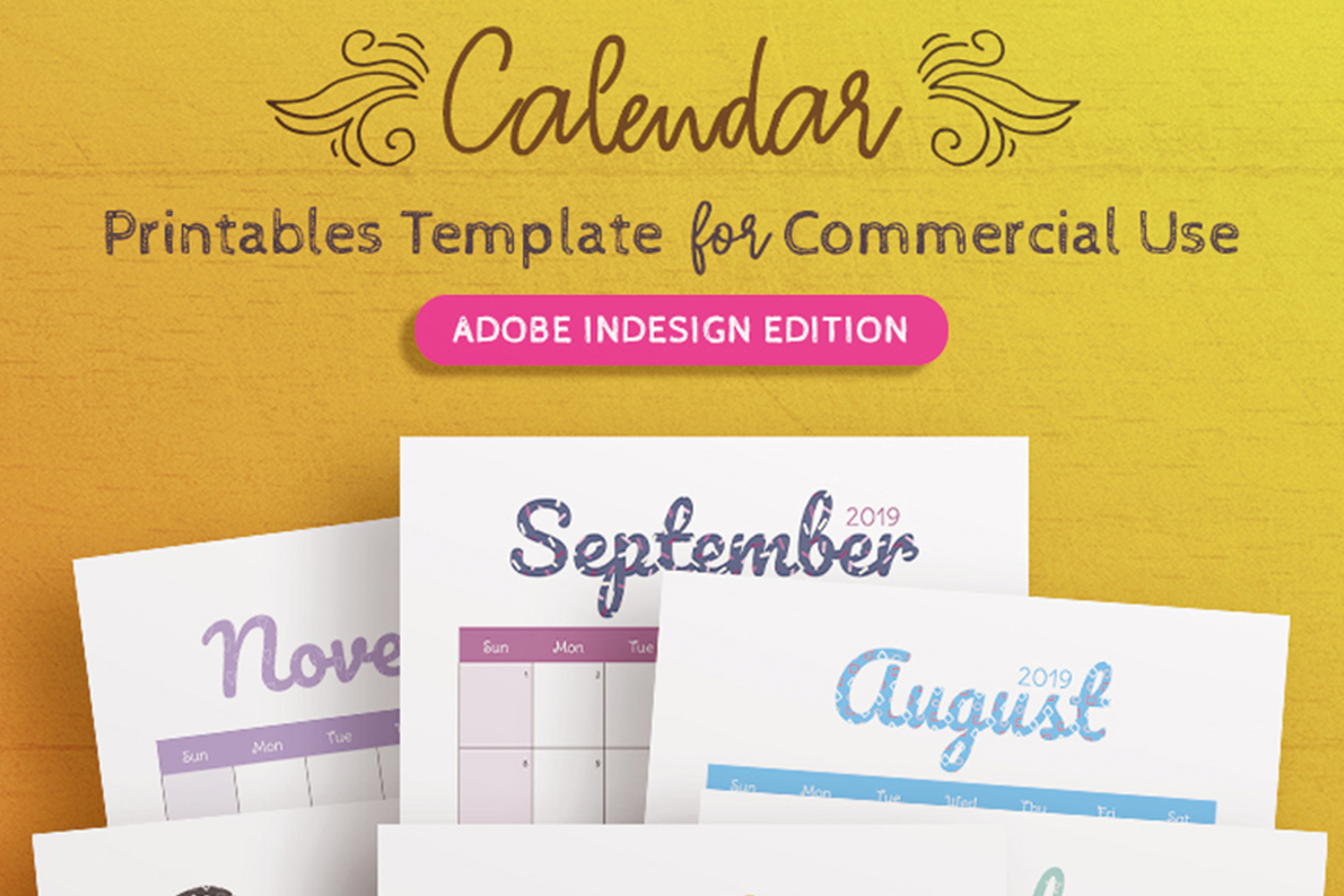 2019 Calendar InDesign Template for Commercial Use example image 1