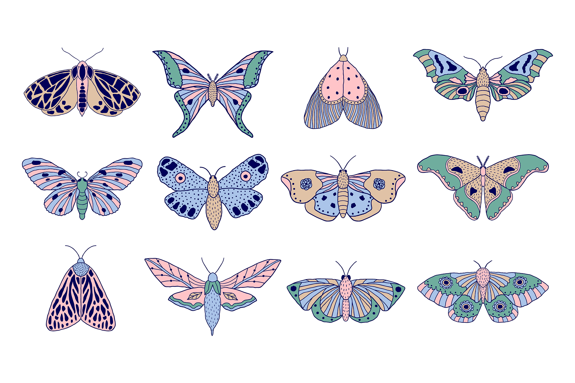 Moths and butterflies. Vector patterns. example image 12